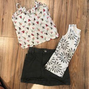 Girls bundle 2 shirts 1 skirt